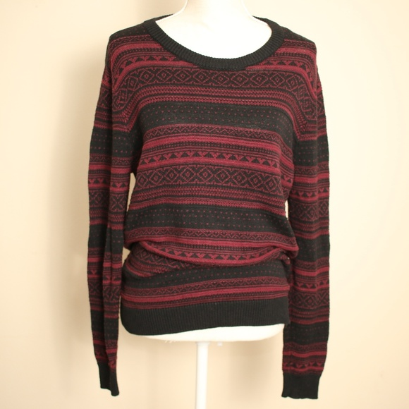 Forever 21 Wool Blend Tribal Print Knit Sweater L